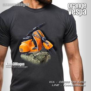 Kaos Gambar Vespa, Vespa Warna Orange, Custom Vespa, Kaos Vespa Retro, Vespa Club Indonesia